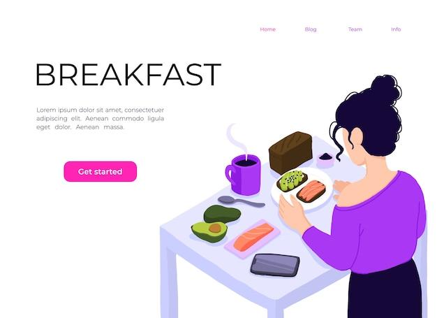Isometrische ansicht auf küche mit junger frau, die gesundes essen kocht.