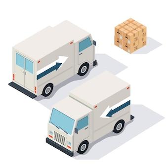 Isometrische ansicht der lieferwagen