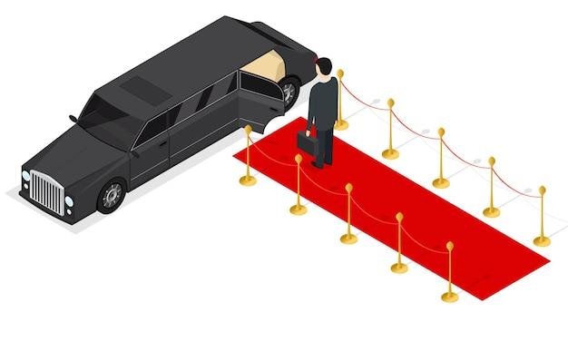 Isometrische ansicht der schwarzen limousine und des roten teppichs. luxusauto.