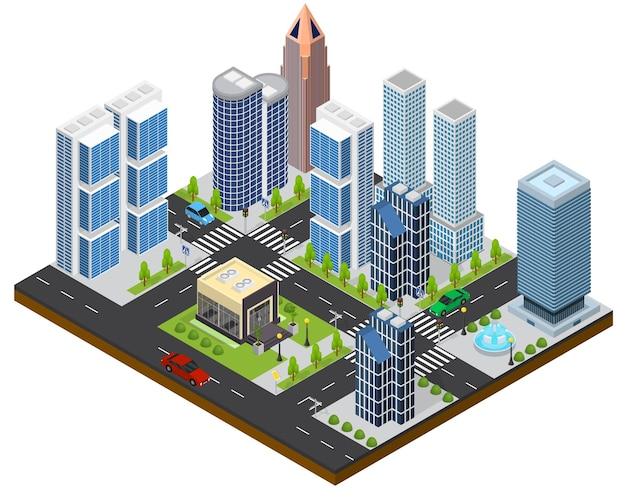 Isometrische ansicht der stadtlandschaft teil der karte mit architektur von gebäuden.