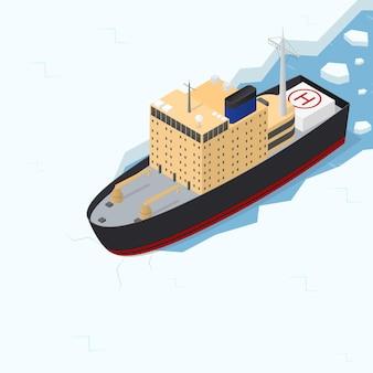 Isometrische ansicht des eisbrecherschiffs im arktischen seetransport für schifffahrt und forschung