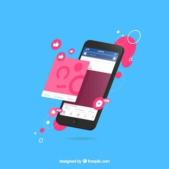 Isometrische ansicht des handys mit facebook-benachrichtigungen
