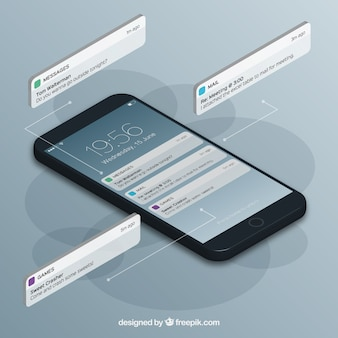 Isometrische ansicht des handys mit instagram beitrag