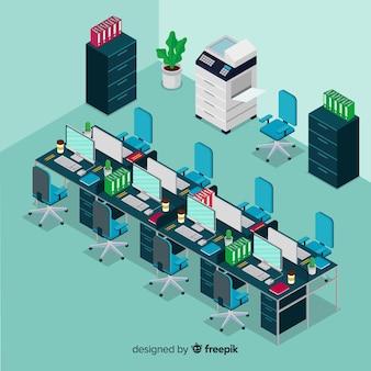 Isometrische ansicht des modernen büroinnenraums