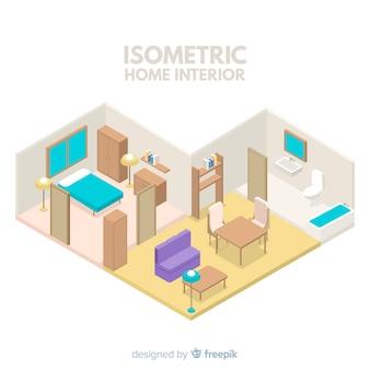 Isometrische ansicht des modernen hauptinnenraums