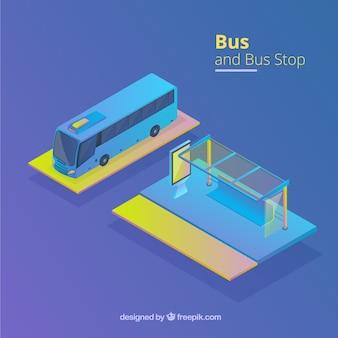 Isometrische ansicht von bus und bushaltestelle