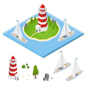 Isometrische ansicht von nautical lighthous und part set.