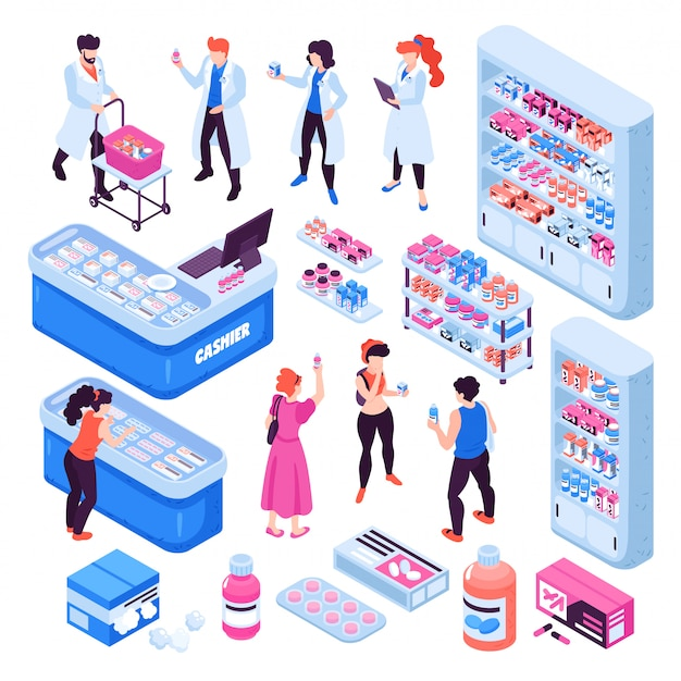 Isometrische apotheke stellte mit kaufender medizin der apotheker und der leute ein, die auf weißer illustration des hintergrundes 3d lokalisiert wurde