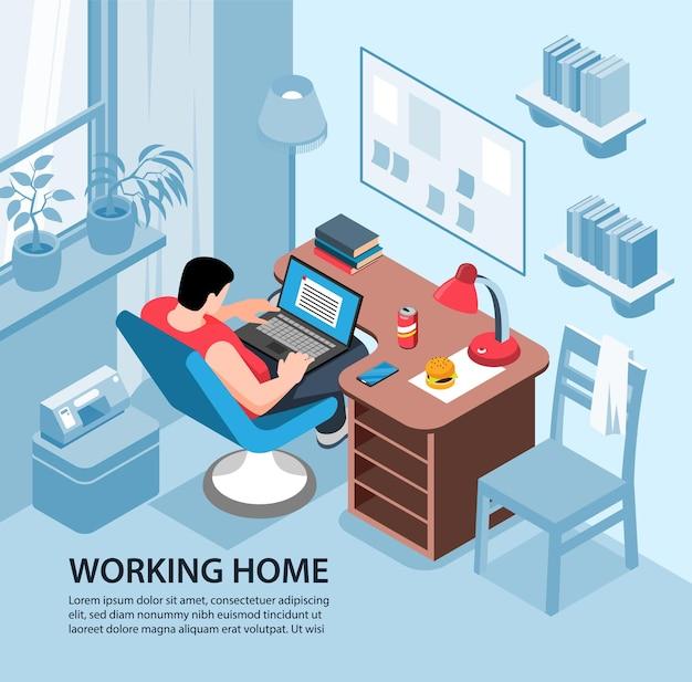 Isometrische arbeitsheimillustrationszusammensetzung mit wohnzimmerinnenraum und männlichem charakter mit laptop und text