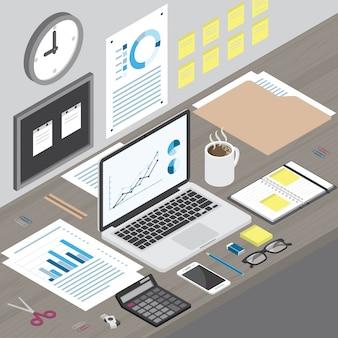 Isometrische arbeitsplatzlaptop-computer und -büroartikel auf hölzernem schreibtisch