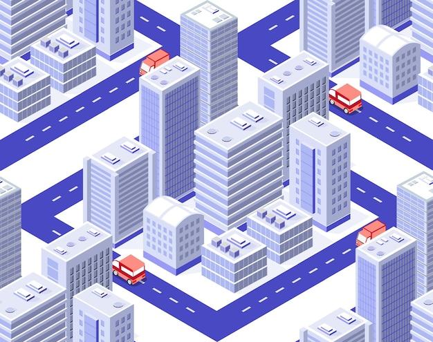 Isometrische architektur der nahtlos sich wiederholenden musterstadt city