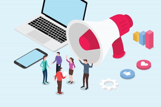 Isometrische art 3d des isometrischen social media-marketingkonzeptes
