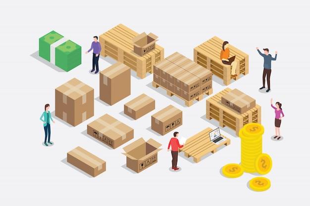 Isometrische art 3d des versandlieferungsgeschäftskonzeptes
