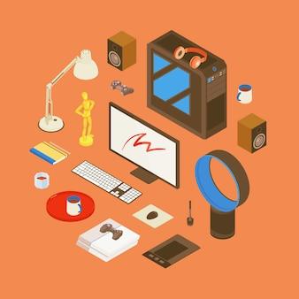 Isometrische artikel vom arbeitsplatz des digitalen künstlers