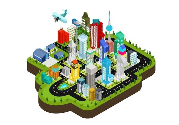 Isometrische artillustration der städtischen karte mit grünem garten