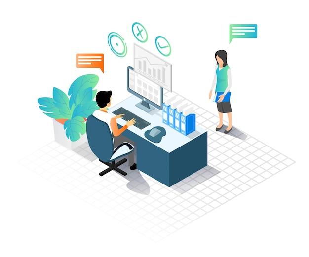 Isometrische artillustration eines mannes und einer frau, die in einem büro arbeiten