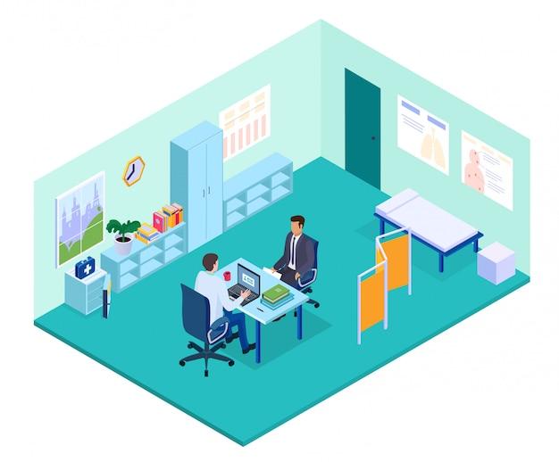 Isometrische arztpraxisillustration, arztcharakter, der am tisch sitzt und patienten im innenraum des krankenhauskabinetts berät
