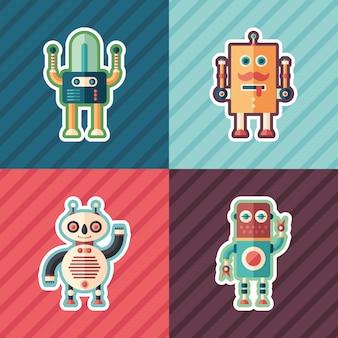 Isometrische aufkleber der glücklichen roboter eingestellt