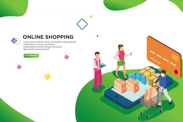 Isometrische auslegung des on-line-einkaufens, vektor