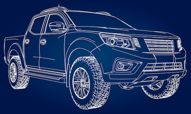 Isometrische auto-modell-blaupause