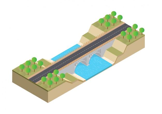 Isometrische autobahn auf der brücke über dem fluss