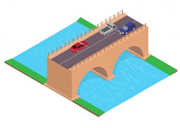 Isometrische autobahn auf der brücke