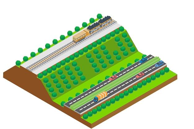 Isometrische autobahn, vektor-illustration