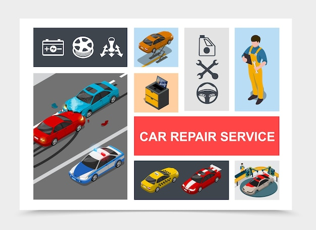 Isometrische autoreparaturdienstzusammensetzung mit unfall auf straßenpolizei-taxisportwagenmechanikern-autolackierungsautoikonen