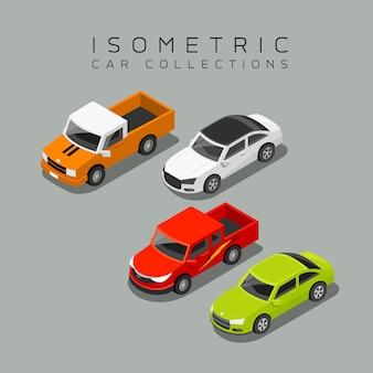 Isometrische autosammlungen vektor-illustration