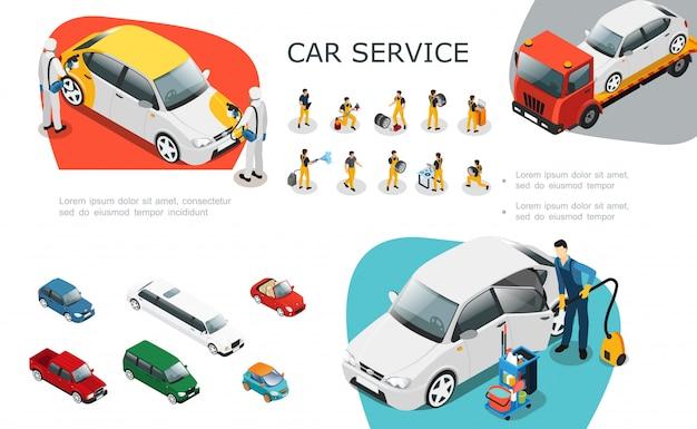 Isometrische autoserviceelemente, die mit professionellen arbeitern eingestellt wurden, wechseln die reifenreparatur und waschen die pannenhilfe des autos