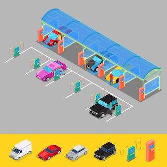 Isometrische autowaschanlage mit staubsaugern. fahrer auto waschen