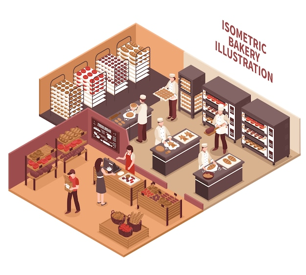 Isometrische bäckerei-illustration