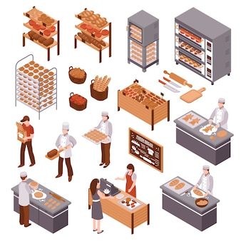 Isometrische bäckerei set