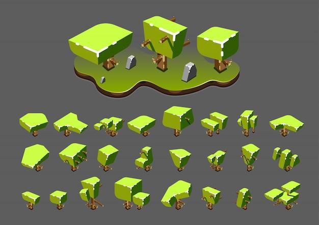 Isometrische bäume für videospiele