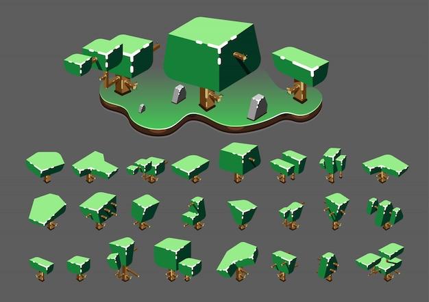 Isometrische bäume im frühjahr für videospiele