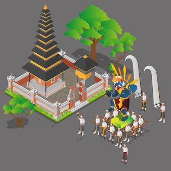 Isometrische balinesische zeremonie