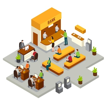 Isometrische bank mit arbeitern