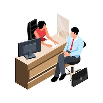 Isometrische bankzusammensetzung mit kundencharakter, die am bankschalter sitzt, mit arbeitender angestellter illustration
