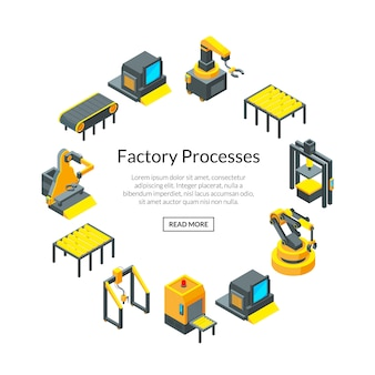 Isometrische banner mit fabrikelementen