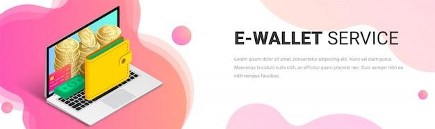 Isometrische banner-vorlage für e-wallet-service.