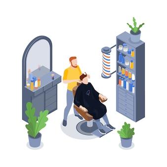 Isometrische barbershop-komposition mit männlichem stylisten und seinem kunden, der sich die haare schneiden lässt