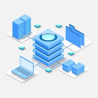 Isometrische berechnung eines großen rechenzentrums, informationsverarbeitung, datenbank.