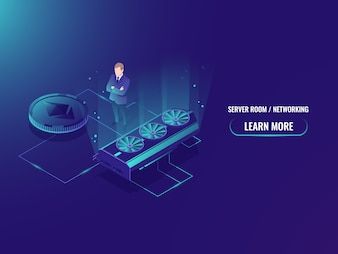 Isometrische Bergbau Farm Server, extrahieren Crypto Currency Miner, Serverraum