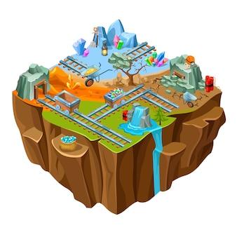 Isometrische bergbau-spielinsel