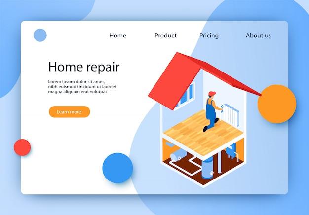 Isometrische beschriftung home repair landing page.