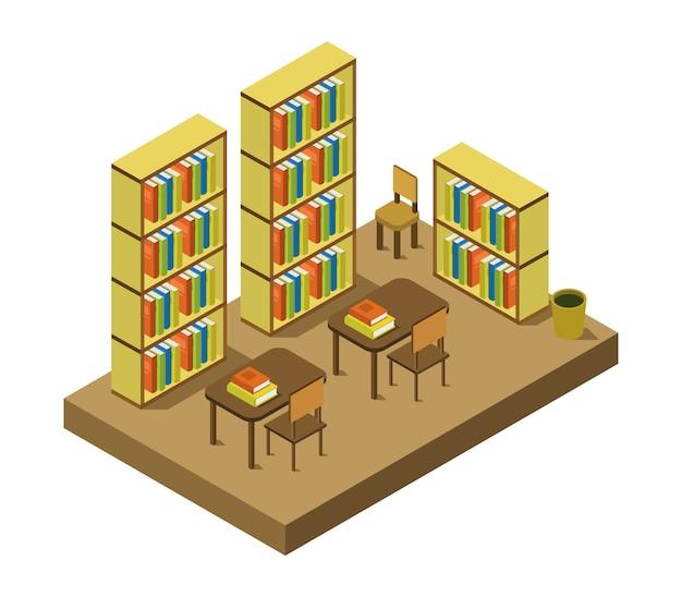 Isometrische bibliothek und arbeitszimmer