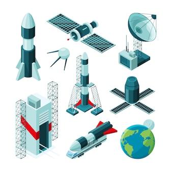 Isometrische bilder verschiedener werkzeuge und konstruktionen für das raumfahrtzentrum.