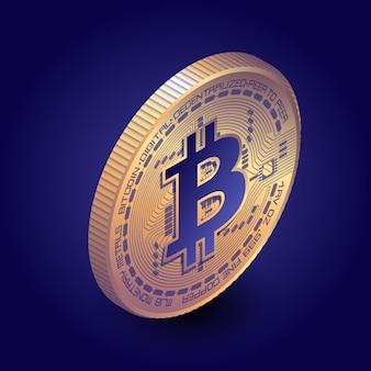 Isometrische bitcoin münze im dunklen hintergrund