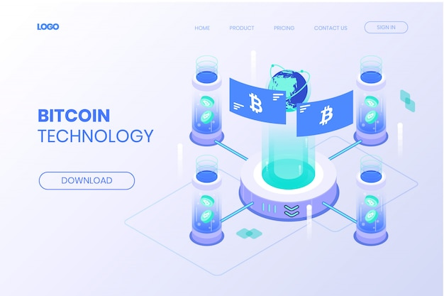 Isometrische bitcoin-technologie-landing page