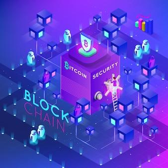 Isometrische blockchain konzeptfahne. modernes konzept der digitaltechnik